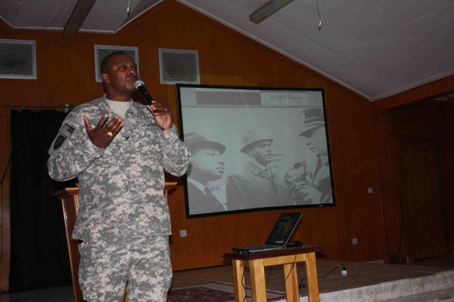 BAGHDAD - Col. Barrye Price from Gary, Ind., the J1 of U.S. Forces-Iraq, presents at the Dr. Martin Luther King Birthday Observance Jan. 18. The event took place at the Camp Liberty Division Chapel. Price's presentation addressed some lesser known facts about King, including his reluctance to lead the Civil Rights Movement.  (U.S. Army photo by Spc. Brian Johnson, 1434th Eng. Co., USD-C)