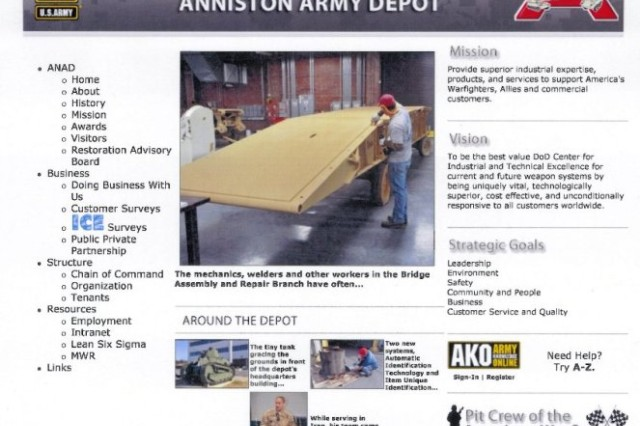 The new site at www.anad.army.mil.