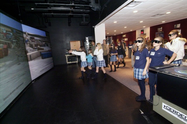 Holy Family students were immersed into a 'virtual' world at the Command and Control C4ISR Automated Virtual Environment.