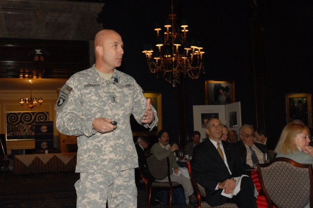 Maj. Gen. Joseph Anderson, Chief of Staff U.S. Forces-Iraq, highlights the progress being made in Iraq during his presentation at a luncheon held in his honor at the Union League Club of Chicago Jan. 19.