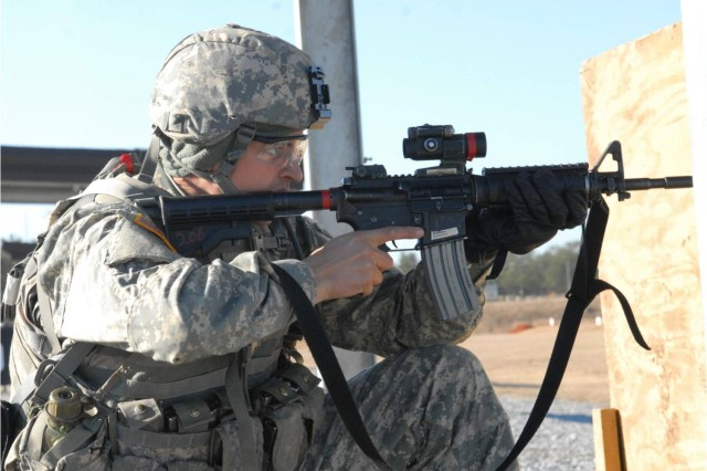 Pvt. Bryce Boyer of D Company, 1st Battalion, 50th Infantry Regiment, takes part in combat familiarization training Jan. 12 on Fort Benning, Ga.