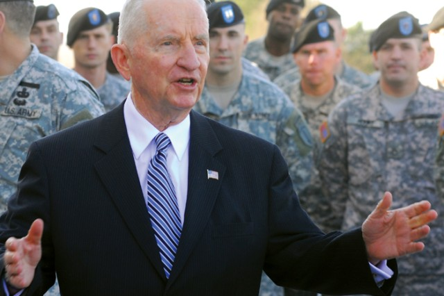 Ross Perot visited troops at the post Friday as part of the Combat Leader Speaker Program. ""