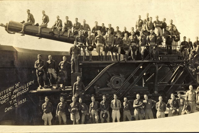 """In this photo from Dec. 7, 1931, Soldiers of Battery """"A"""", 16th Coast Artillery, pose with their 14-inch coastal defense gun at Fort DeRussy\'s Randolph Battery. Fort DeRussy is now the home of the Hale Koa hotel and Army Museum of Hawaii."""