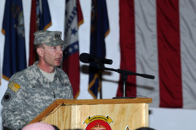 Lt. Gen. Charles Jacoby, deputy commanding general for operations and I Corps commanding general, United States Forces-Iraq, gives a speech during the transfer of authority ceremony in which II Marine Expeditionary Force (Forward), United States Force-West yielded command of Al Anbar province to 1st Armored Division, United States Division-Center Jan. 23, 2010. The ceremony marks the end of nearly six years of Marine command of coalition forces in the province.