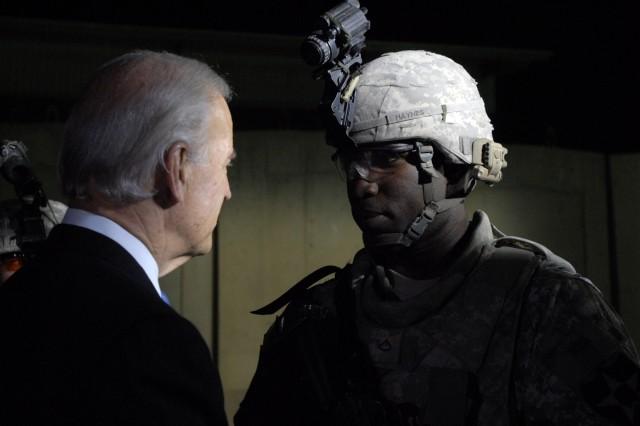 Vice President Joe Biden speaks with Infantry Soldier