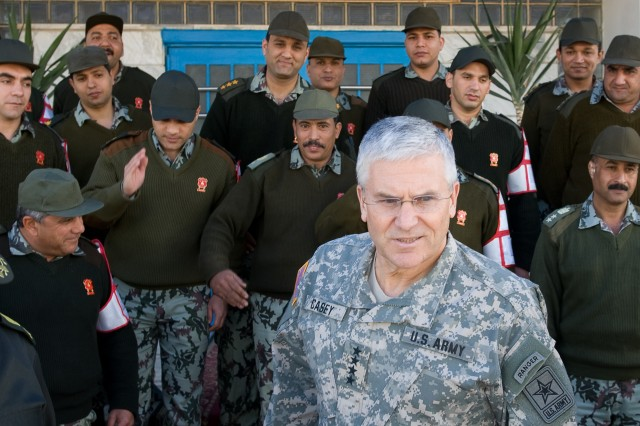 Gen. George W. Casey Jr., Chief of Staff of the US Army, completes his discussion with the Egyptian Army officers at the National Training Center in, Egypt, Jan. 21, 2010.  Casey met with senior military Egyptian leaders, visited different military facilities and visited American Soldiers during his trip in Egypt.