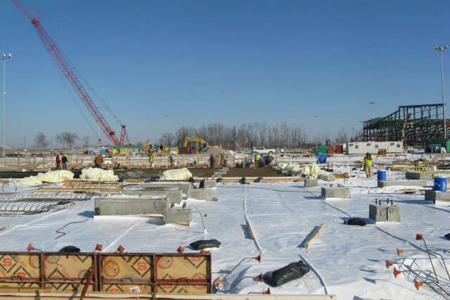 Shown here is the concrete placement for the Utility Building foundation.