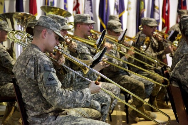 A 1st Armored Division Band performs at the Al Anbar Transfer of Authority ceremony Jan. 23. Marines had responsibility for security in the western province of Iraq for the past six years and Saturday turned over authority to the 1st Armored Division.
