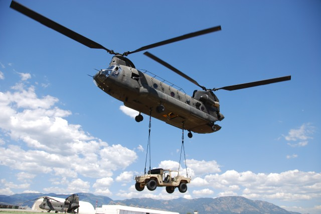 Pictured in this file photo is a CH-47 twin-engine, tandem heavy-lift helicopter, which is considered the workhorse of the Army and is designed for transportation of cargo and troops.