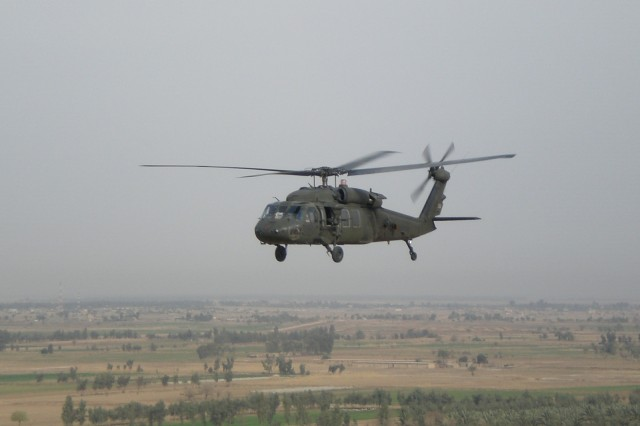 Pictured in this file photo is a UH-60 Black Hawk, which is a four-bladed, twin-engine, medium-lift utility helicopter designed for air assault, air cavalry and medical evacuation.