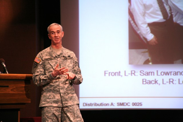 Lt. Gen. Kevin T. Campbell, U.S. Army Space and Missile Defense Command/Army Forces Strategic Command commanding general, talks about command projects during the Town Hall on Jan. 21 at the Bob Jones auditorium.