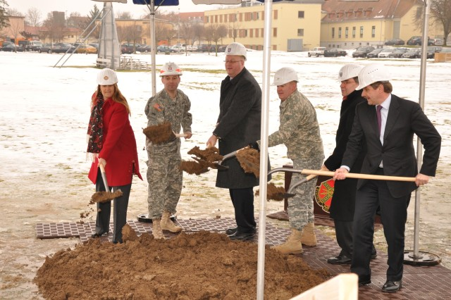German and American officials break ground for the new Command and Battle Center on Wiesbaden Army Airfield during the ceremony Jan. 19.