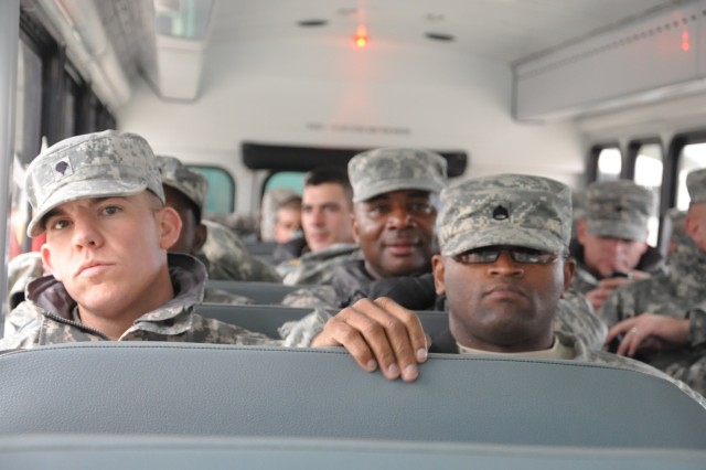 Soldiers from the 10th Trans. Co. make their way to the airfield before departing to Haiti in support of Operation Unified Response, Jan. 23.