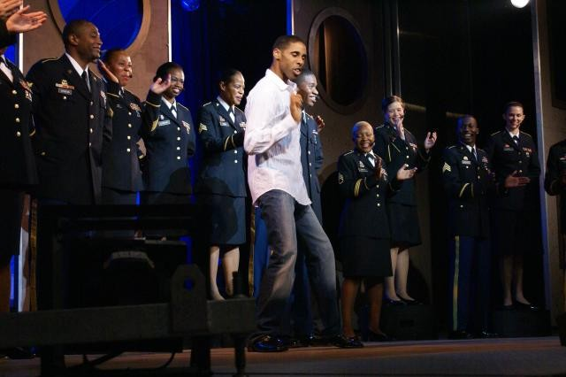 Sgt. Kevin Cherry, saxophonist and singer with the 3rd Infantry Division Band, performs Michael Jackson's 'Billie Jean' as special tribute to the artist at the close of the 2009 U.S. Army Soldier Shows' performance at Fort Stewart.  This performance allowed Sgt. Cherry to be hand selected for the 2010 U.S. Army Soldier Show season.