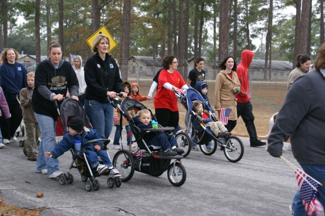 Strollers were abundant among participants in the kickoff of the Walk/Run to Iraq/Afghanistan and Back at Fort Stewart, Jan. 23. Dogs, important members of many Army Families, also were plentiful and set a quick pace for their masters.