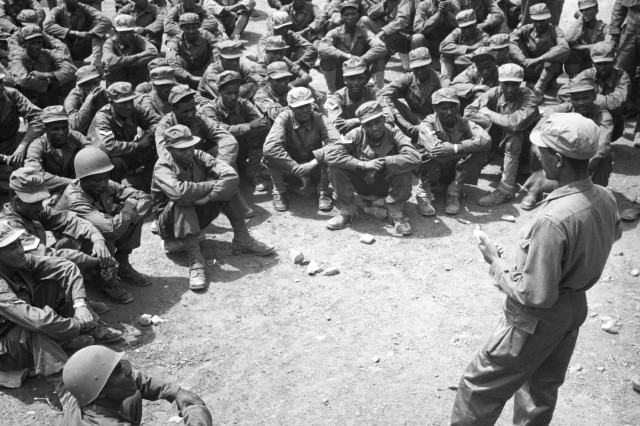 Lt. Solomon Mokria conducts training for Ethiopian troops in Korea, May 1951.