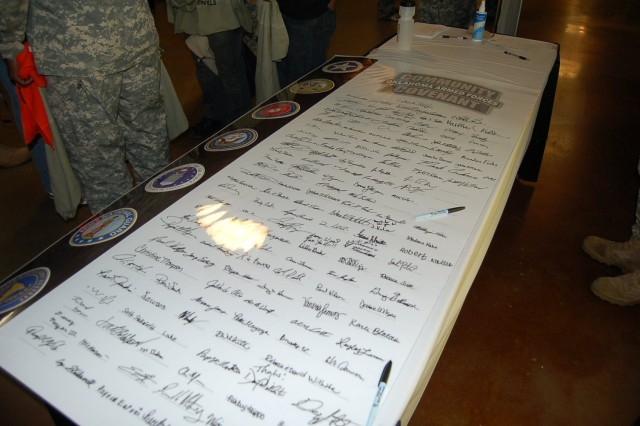 Jumbo 3'X6' Community Covenant document signed by Oklahoma citizens who attended the Oklahoma City Thunder vs. New York Knicks game.