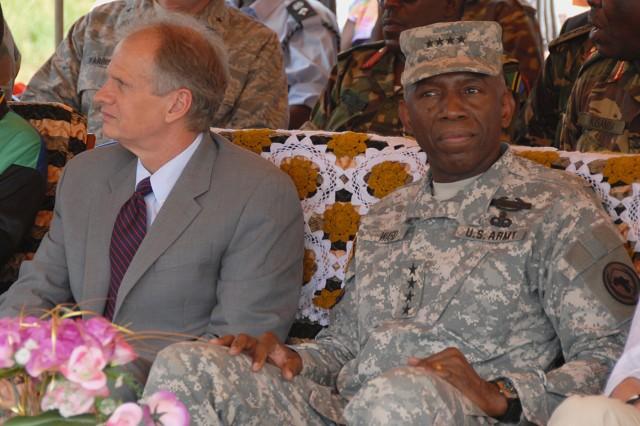 Jerry Lanier, U.S. ambassador to Uganda, and Gen. William Ward, commander of U.S. Africa Command, attended the Oct. 23, 2009 ceremony honoring Capt. Benjamin Sklaver.