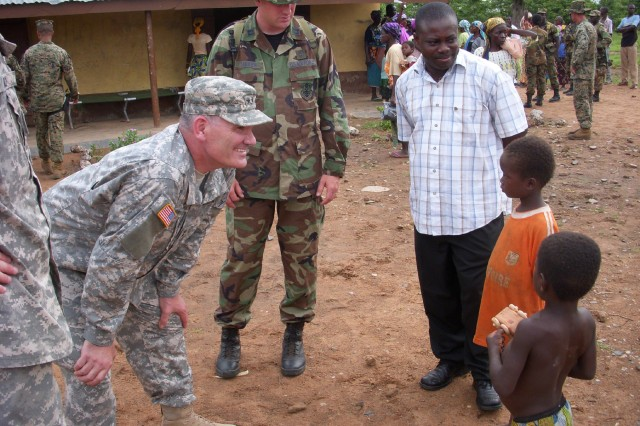 Maj. Gen. David Sprynczynatyk, adjutant general, North Dakota National Guard, visits Ghana.