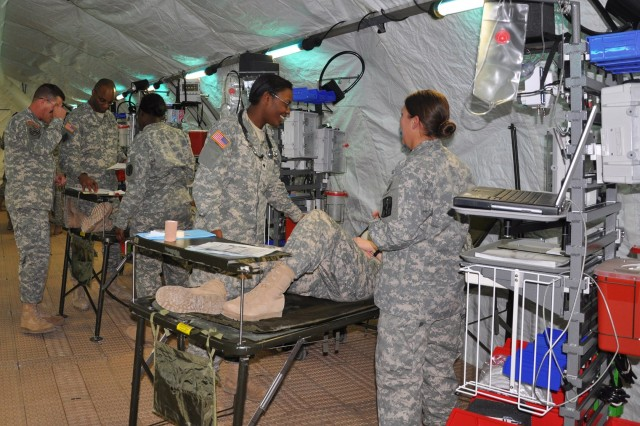 Students from the U.S. Army Practical Nurse Course participate in a field training exercise Jan. 25 at the Deployable Medical Systems Equipment Training Site at Camp Bullis.