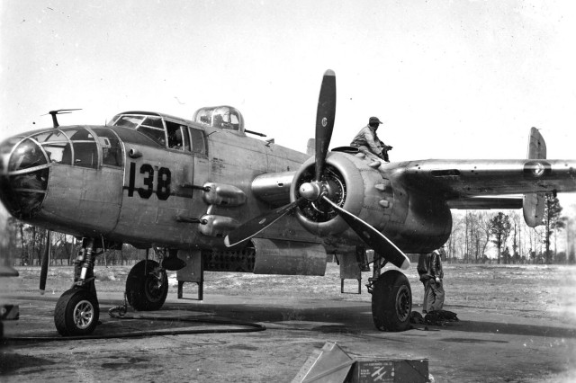 "The North American B-25 Mitchell (North American NA-62) was an American twin-engine, medium, bomber manufactured by North American Aviation. The aircraft was named the ""Mitchell"" in honor of Brig. Gen. Billy Mitchell."