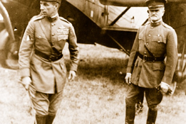 Brig. Gen. William M. (Billy) Mitchell (left) and General of the Armies John Pershing in France during World War I.