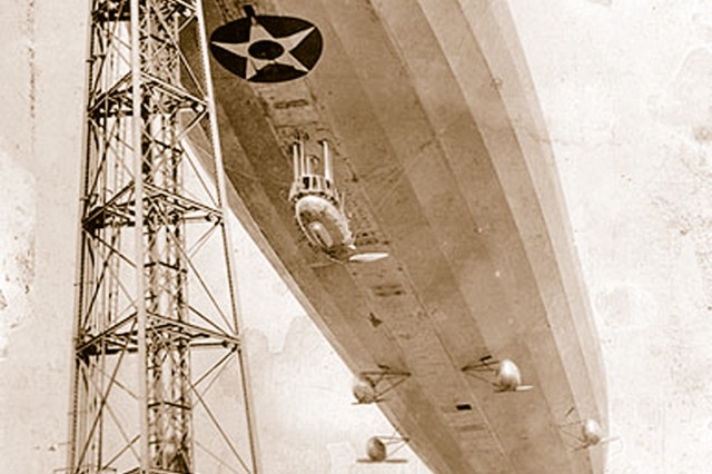 Sept. 3, 1925, the U.S. Navy dirigible, Shenandoah pictured at a docking tower, was destroyed during a thunderstorm over Ohio. After the crash, Mitchell's publicize a statement against the Army and Navy for failure to promote military aviation.