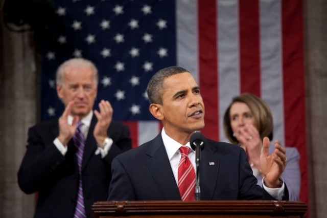 President Barack Obama gives his State of the Union address to a joint session of Congress in the House Chamber of the U.S. Capitol, Jan. 27, 2010.