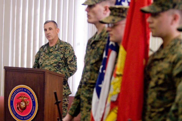 Lt. Gen. George J. Flynn, commander of the U.S. Marine Corps Forces, Cyberspace Command, addresses the crowd during the activation ceremony for the Cyberspace Command held at the National Cryptologic Museum on Jan. 21, 2010.