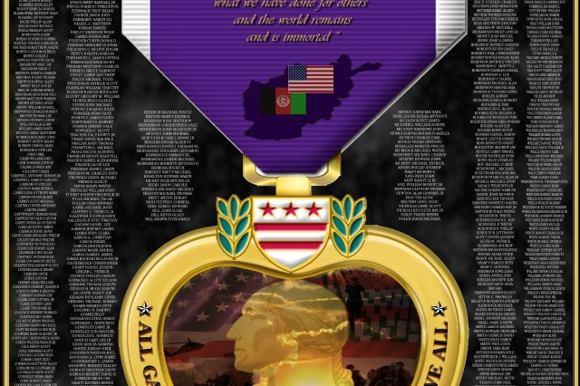Retired Staff Sgt. Paul Delacerda created this Purple Heart graphic tribute to 937 fallen comrades. Delacerda said he used pictures from the Department of Defense Web site and plans to make the artwork available to Family members of the fallen at no cost.