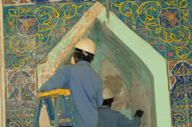Civilian contractors began to renovate a mosque Jan. 1 on the U.S. military monitored side of Camp Taji, Iraq. Military officials with the 155th Heavy Brigade Combat Team, 13th Sustainment Command (Expeditionary) were tasked with overseeing the proper renovation of the mosque and ensuring that respect was shown to Islam and the mosque during the construction.