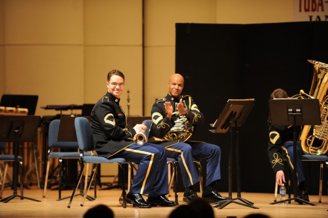 SFC Terry Bingham is recognized as the newest member of The U.S. Army Brass Quintet. The performance was his first as principal trumpet of the quintet.