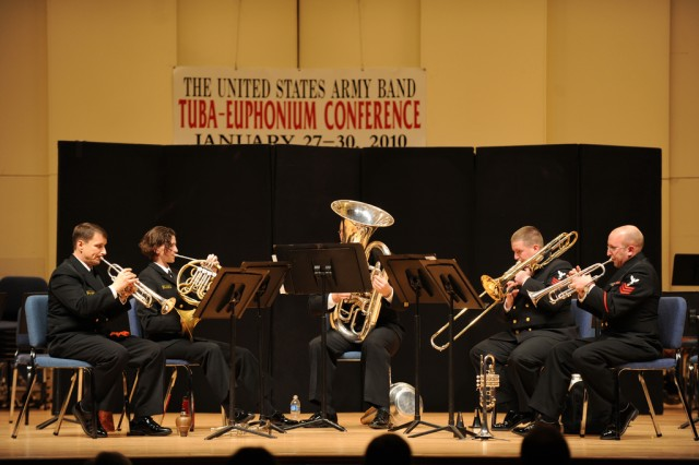 The U.S. Naval Academy Band Brass Quintet performs during the The 2010 Annual Tuba-Euphonium Conference.
