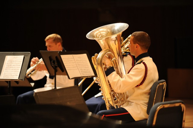 A member of The U.S. Coast Guard Band Brass Quintet performs at the 2010 Annual Tuba-Euphonium Conference.