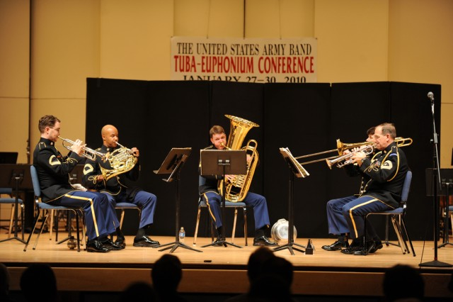 The U.S. Army Brass Quintet performs during the 2010 Annual Tuba-Euphonium Conference.