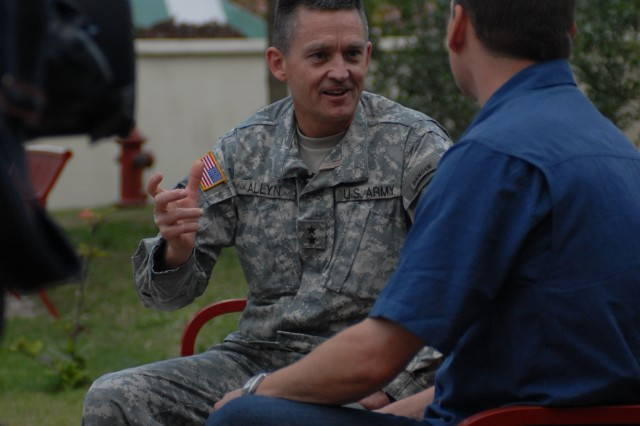 Maj. Gen. Daniel B. Allyn, Joint Task Force Haiti and XVIII Airborne Corps, Fort Bragg, N.C., deputy commanding general spoke with the media at the U.S. Embassy about the role of the U.S. military in Haiti Feb. 1.
