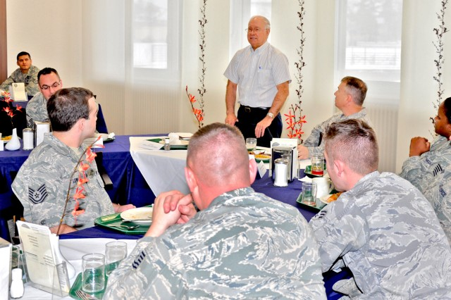 Former Air Force enlisted chief discusses leadership with Wiesbaden Airmen