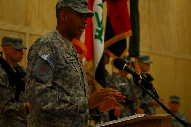 Maj. Gen. Vincent Brooks, 1st Infantry Division commander, speaks during the transfer of authority ceremony at Contingency Operating Base Basra, Feb. 2, 2010.