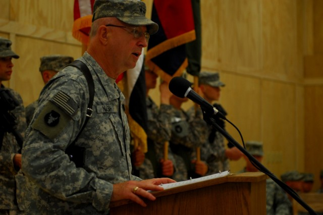 Maj. Gen. Rick Nash, 34th Infantry Division commander, speaks during the transfer of authority ceremony at Contingency Operating Base Basra, Feb. 2, 2010.