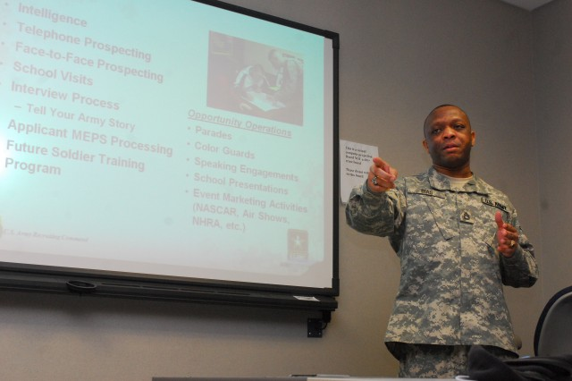 Sgt. 1st Class Wallace Bias, United States Army Recruiting Command, Fort Knox, Ky., addresses potential recruiters at Fort Hood's Soldier Development Center Feb. 2.