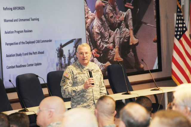 Maj. Gen. James O. Barclay III, USAACE and Fort Rucker commanding general, addresses 2010 Aviation Senior Leaders Conference participants Jan. 27 at the Seneff Center during the conference's beginning.