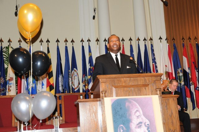 Jim Lucas, a historian and expert on Dr. Martin Luther King, Jr., addresses the audience as the keynote speaker at Fort Stewart's Main Post Chapel, Jan. 29.