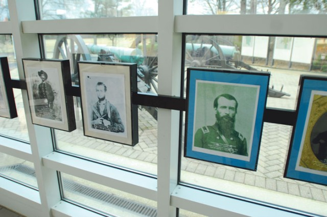 Pictures hanging in the visitor's center at Chickamauga and Chattanooga National Military Park show the faces of the fallen on both sides of the Civil War.
