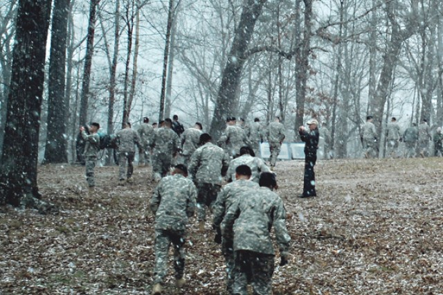 Soldiers with the rear detachment of 1st Battalion, 15th Infantry Regiment, 3rd Heavy Brigade Combat Team, hike through the woods Jan. 29 at the Chickamauga Battlefield while retracing the steps of their predecessors who fought in the Civil War.