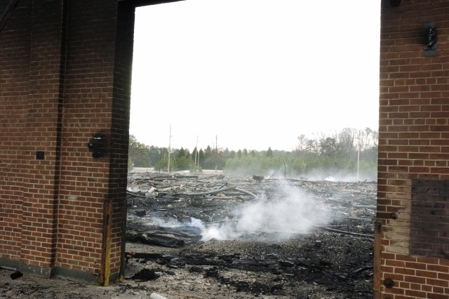Fire burns down National Guard Center: investigation, cleanup underway