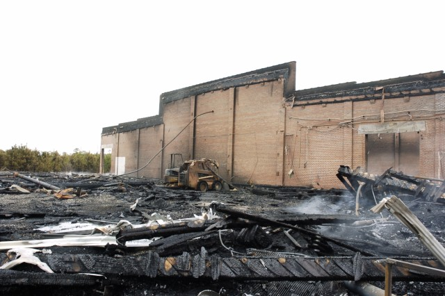 Building 608 at Fort Gillem after the Jan. 26 fire.