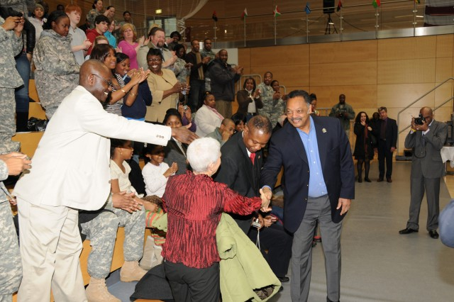 Rev. Jesse Jackson is welcomed to Wiesbaden during a Black History Month Celebration in the Wiesbaden Fitness Center Feb. 3.