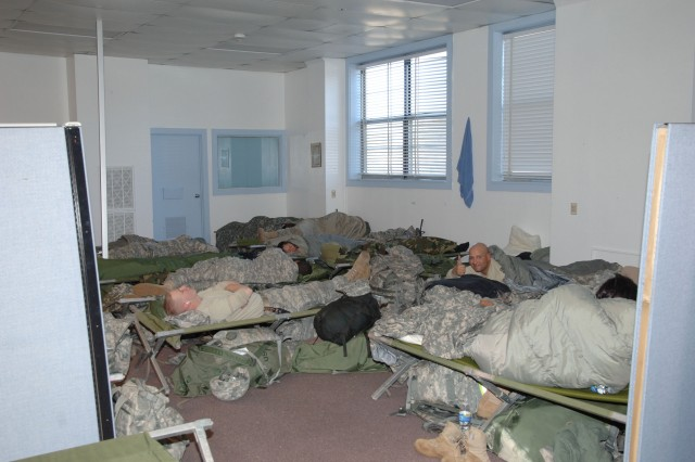 Warm and comfortable quarters were provided to the 7th Chemical Company Soldiers during their visit to Pine Bluff Arsenal. The unit was housed in the former offices of the Directorates of Logistics and Material Management on the southern end of the Arsenal.