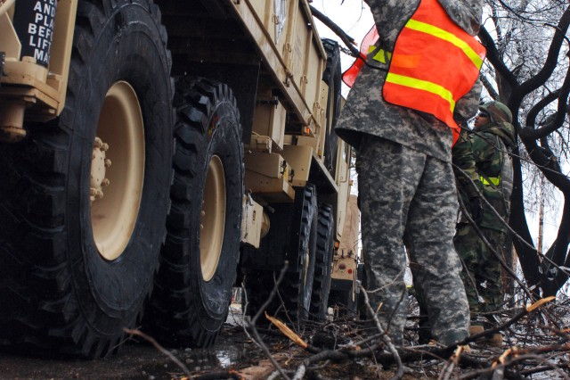 Soldiers from Fort Sill's 578th Forward Support Company engage the enemy - fallen tree limbs of every shape and size - along Fort Sill's residential streets Feb. 1.
