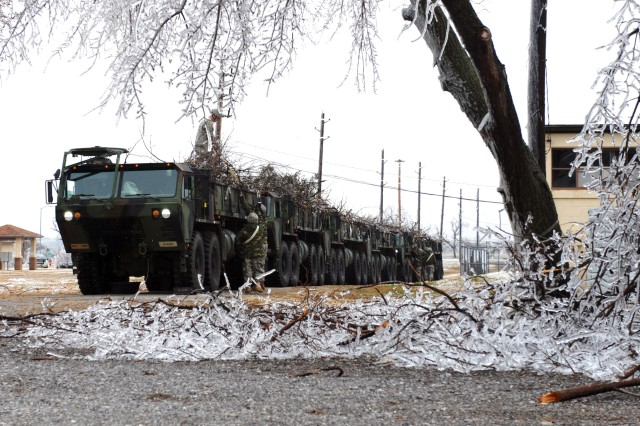 Fort Sill's 578th Forward Support Company provided heavy expanded mobility tactical trucks to haul away hundreds of loads of broken limbs and destroyed trees as the post cleaned up after an ice storm. As of Tuesday, more than 140 truck-loads had been taken to the post landfill by the 578th FSC alone.